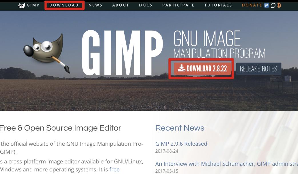 gimp 2.8 ダウンロード